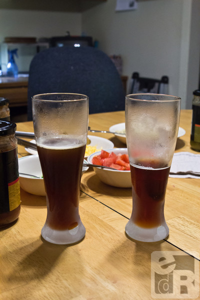A toast with home brewed beer for the start of the road trip!