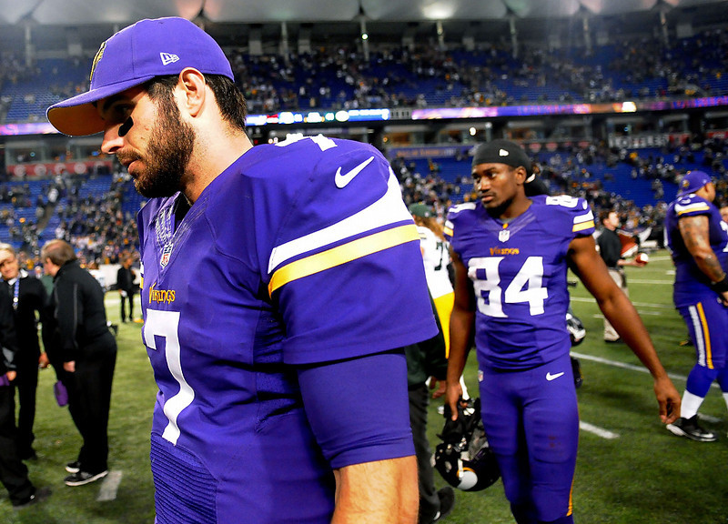 . Christian Ponder leaves the field. (Pioneer Press: Sherri LaRose-Chiglo)