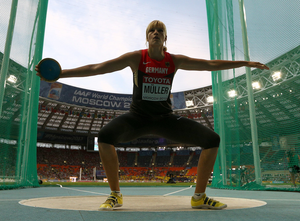 . Nadine Muller of Germany competes in the Women\'s Discus final during Day Two of the 14th IAAF World Athletics Championships Moscow 2013 at Luzhniki Stadium on August 11, 2013 in Moscow, Russia.  (Photo by Cameron Spencer/Getty Images)