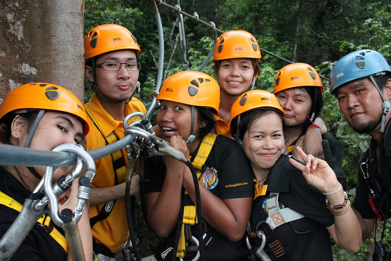 The SA Team readies for their first zipline
