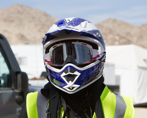 Lori Carey in a helmet