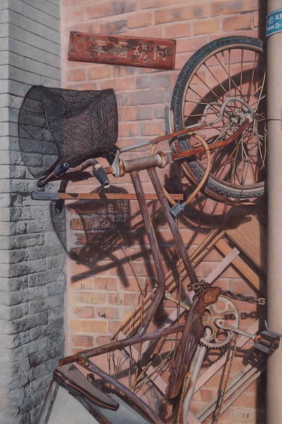 """Old Bicycle"" (tempera on wood board) by Yong Zhang"