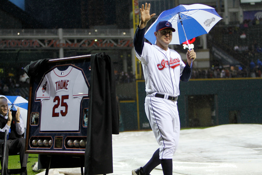 . Cleveland Indians\' Jim Thome waves to the crowd after ceremonies honoring his career before a baseball game between the Indians and the Minnesota Twins Friday, Sept. 23, 2011, in Cleveland. (AP Photo/Mark Duncan)