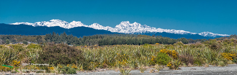 Mt Elie de Beaumont from the mouth of the Hokitika river