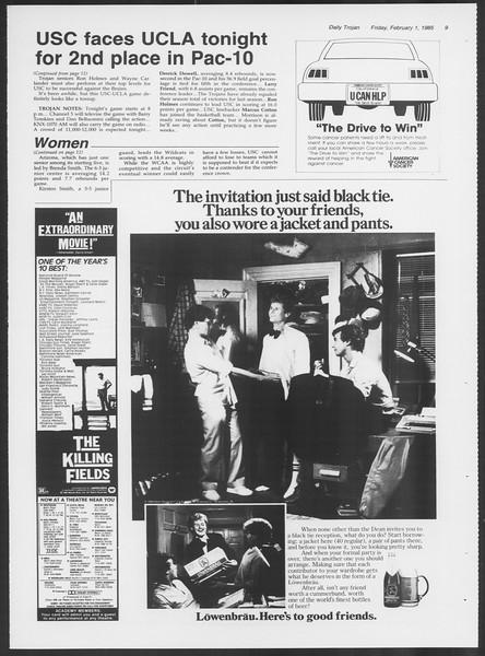 Daily Trojan, Vol. 98, No. 16, February 01, 1985