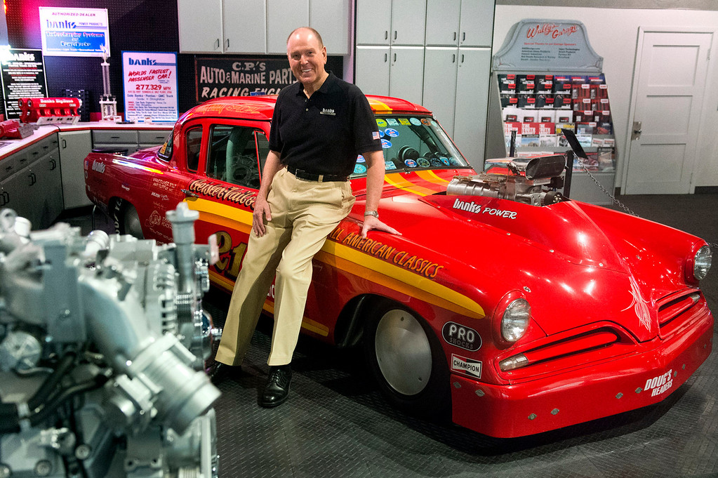 . Gale Banks, owner of Gale Banks Engineering, at his exhibit at the NHRA museum at the Fairplex in Pomona on Thursday, July 22, 2013. Gale Banks is celebrating 55 years in business. The manufacturing and engineering company produces products for high-performance cars and trucks. (SGN/Staff photo by Watchara Phomicinda)