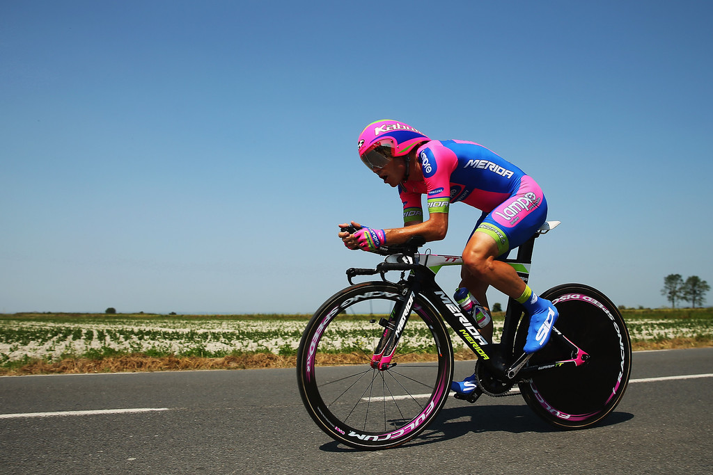 . Damiano Cunego of Italy and Team Lampre-Merida rides during stage eleven of the 2013 Tour de France, a 33KM Individual Time Trial from Avranches to Mont-Saint-Michel, on July 10, 2013 in Avranches, France.  (Photo by Bryn Lennon/Getty Images)