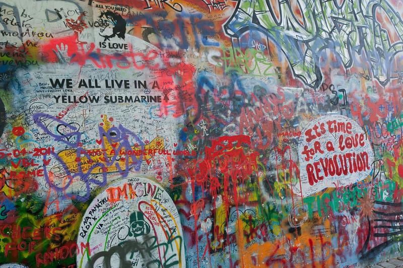Closer shot of graffiti on Lennon Wall - Prague, Czech Republic