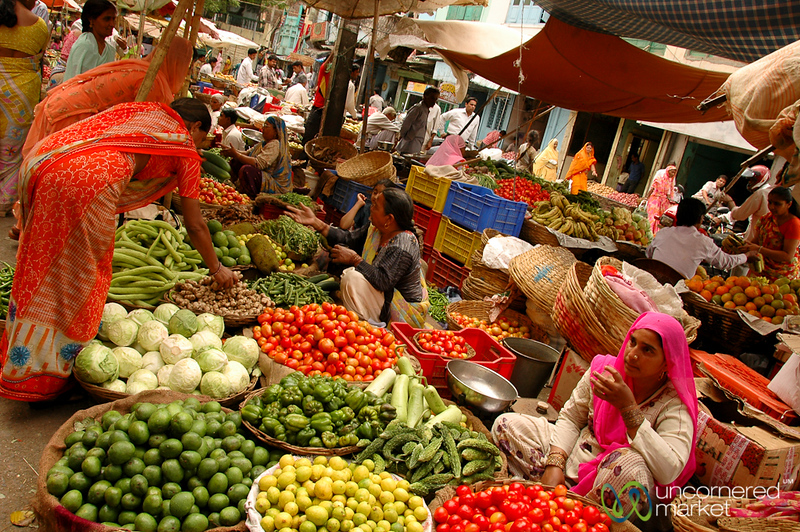 Vegetable Alley at the Market in Udaipur, India