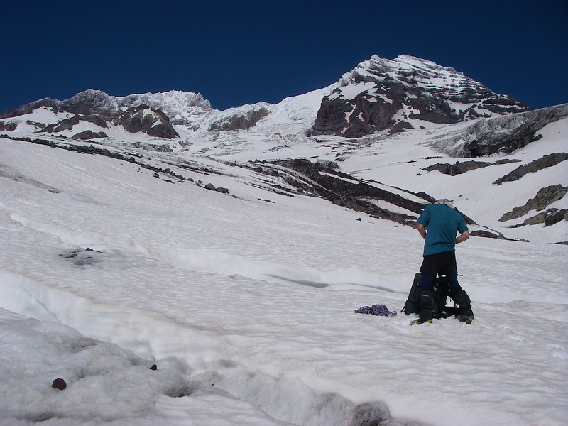 Mount Rainier, the most heavily glaciated peak in the contiguous United States, offers an exciting challenge to the mountaineer. We step on Tahoma Glacier at 5,800ft = 1768m