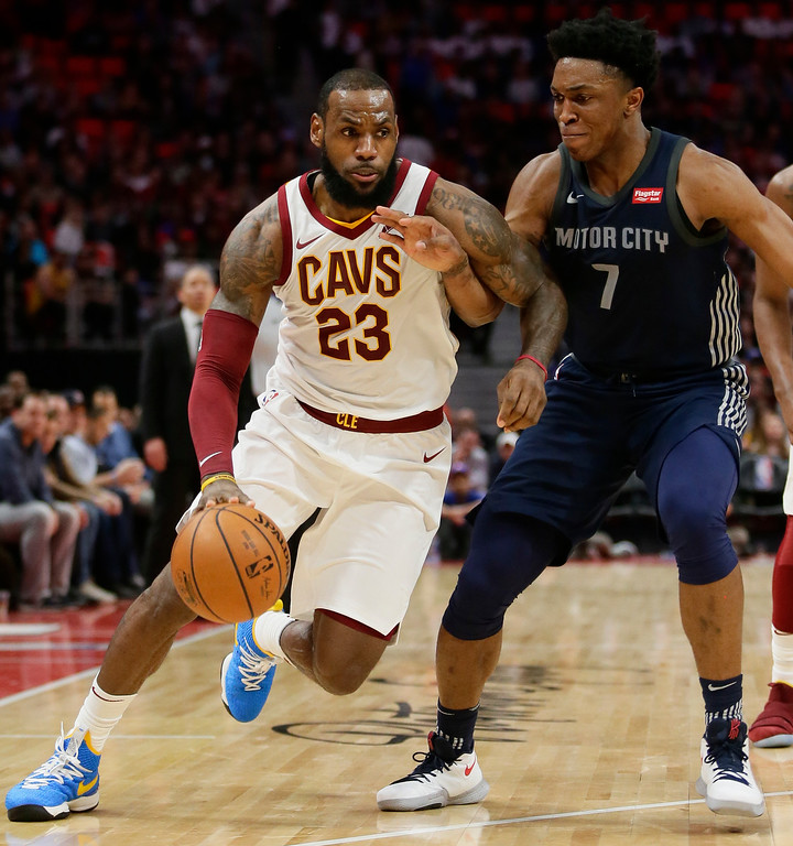 . Cleveland Cavaliers forward LeBron James (23) drives against Detroit Pistons forward Stanley Johnson (7) during the second half of an NBA basketball game Tuesday, Jan. 30, 2018, in Detroit. The Pistons defeated the Cavaliers 125-114. (AP Photo/Duane Burleson)