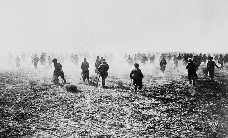 . Photo shows a scene from a Russian battlefield in 1917. Exact date and location are unknown. (AP Photo)