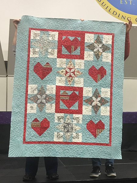 Ann Newell made this quilt for the Teal Project.  She made the quilt using blocks from her exchange with the Chocolatiers/  The star blocks were from the exchange.