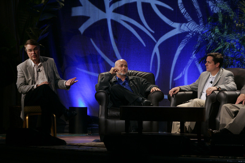 """CTO Design Challenge: """"And the Solution Is--"""": (L-R) Host Larry Smarr, Director, Calit2, UCSD; host and author David Brin; and Brian Higbee, Global Partner Manager, Global Strategic Partners-Sales, Symantec"""