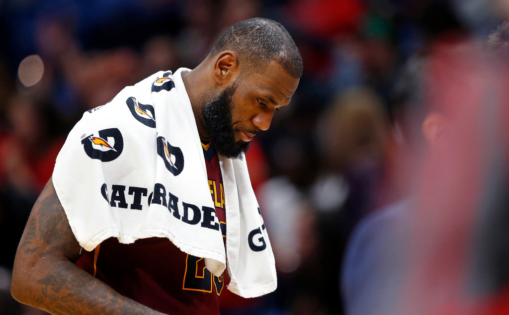 . Cleveland Cavaliers forward LeBron James, walks to the bench during a timeout in the second half of an NBA basketball game against the New Orleans Pelicans in New Orleans, Saturday, Oct. 28, 2017. The Pelicans won 123-101. (AP Photo/Gerald Herbert)