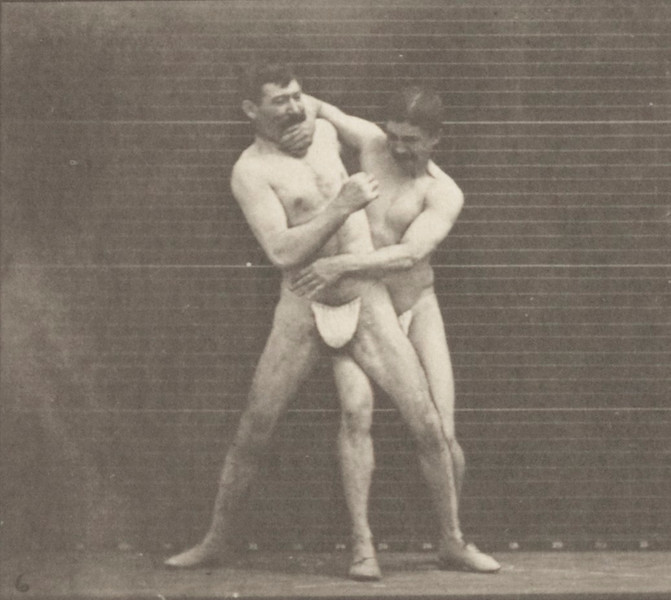 Two men boxing in thong underwear