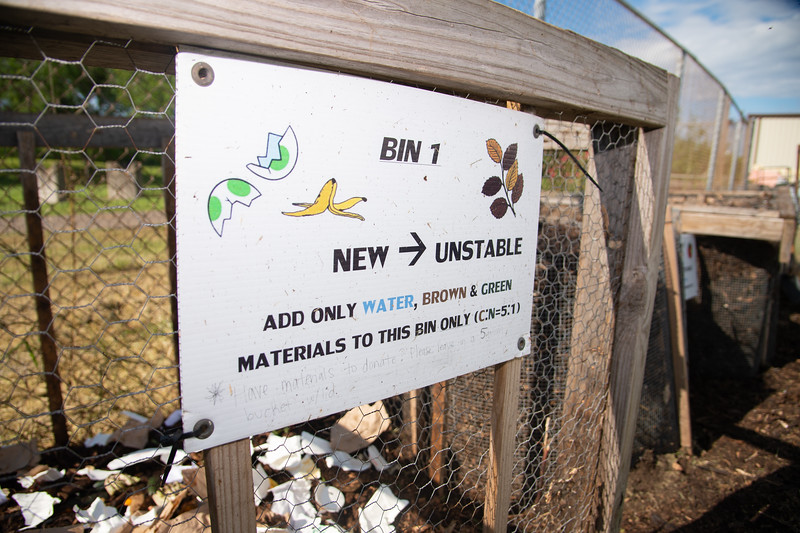 Recyclable material in one of the compost bins.