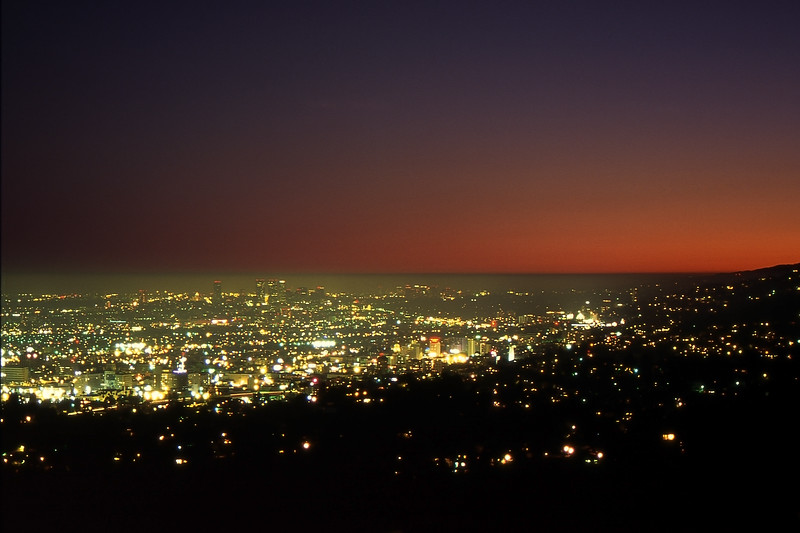 L.A. in Evening Twilight - Griffith Observatory, Los Angeles, California, USA - August 1995