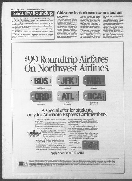 Daily Trojan, Vol. 108, No. 45, March 20, 1989