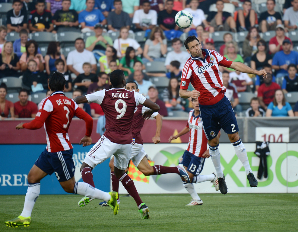 . COMMERCE CITY, CO. - MAY 25: Bobby Burling of Chivas USA (2) header in the 1st half of the game against Colorado Rapids at Dick\'s Sporting Goods Park. Commerce City, Colorado. May 25, 2013. (Photo By Hyoung Chang/The Denver Post)