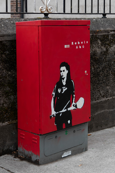View of electric box with a picture of a female athlete on the front, City of Cork, County Cork, Ireland