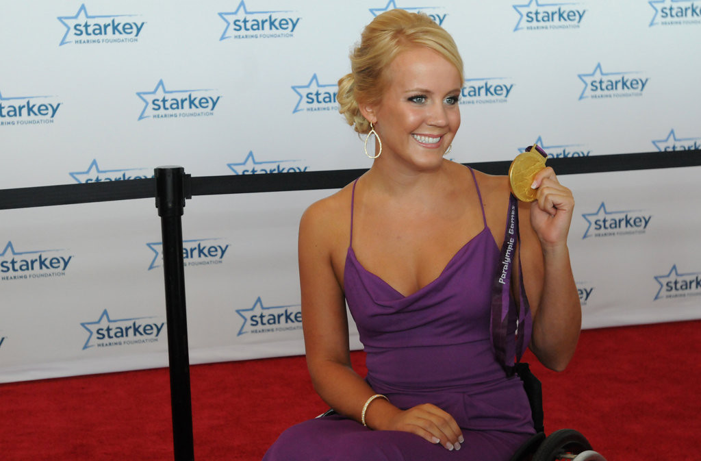 . London Paralympic Games gold medalist Mallory Weggemen of Eagan flashes her medal. (Pioneer Press: Ginger Pinson)