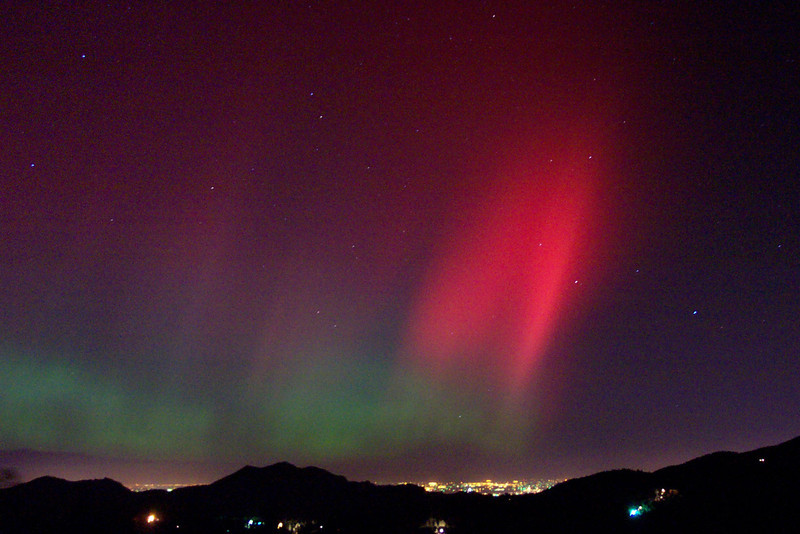 . Aurora Borealis is seen over Boulder.  Photo was taken in Coal Creek Canyon. The photo is looking over Boulder, Colorado NEE. Photo Spcl to the Denver Post - Paul Soderbloom