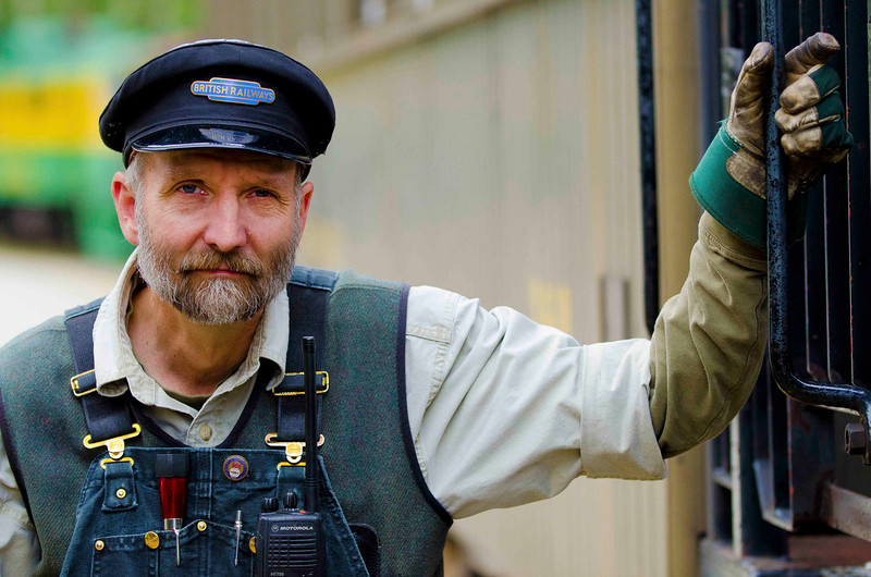 White Pass Railroad engineer, Skagway, Alaska.