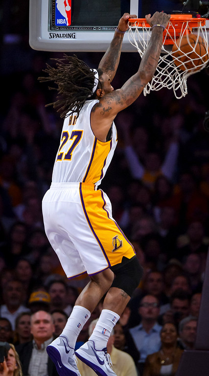 . Lakers� Jordan Hill drops in two points during second half action at Staples Center Sunday, November 17, 2013.  The Lakers defeated the Detroit Pistons 114-99.  ( Photo by David Crane/Los Angeles Daily News )
