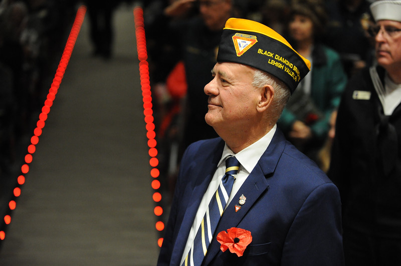 Bill Nixon stands when the Navy is recognized. Phillipsburg area veterans Sunday, Nov. 11, 2018  were honored during the 21st annual William L. Nixon tribute. Hundreds attended the event at Phillipsburg High School in Lopatcong Township, in which the U.S. Department of Veterans Affairs has honored as a regional site for the observance of the commemoration.