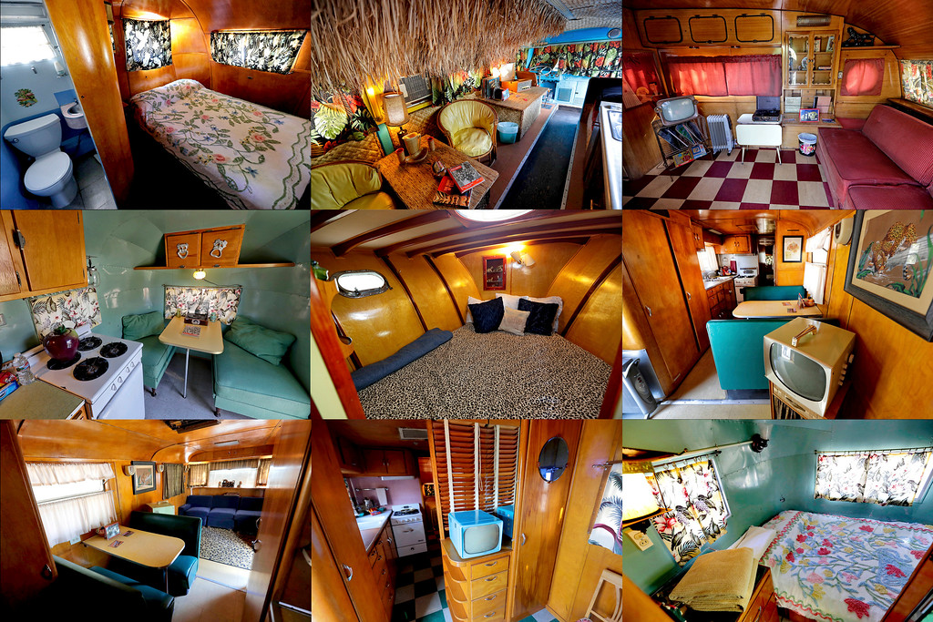 . This combination of Wednesday, April 26, 2017 photos shows from left top to bottom; The interiors of 1951 Spartan Royal Mansion, 1947 Airporter Bus, 1957 Airfloat, 1959 El Rey, 1947 Chris Craft Yacht, 1951 Spartan Royal Mansion, 1951 Spartan Royal Mansion, 1950 Spartanette, and 1959 El Rey at the Shady Dell Trailer Court in Bisbee, Ariz. Vintage aluminum travel trailers, a yacht and a Hawaiian-themed bus are used as guests rooms at the trailer lodge located off Highway 80 in the historic Southern Arizona copper mining town. (AP Photo/Matt York)