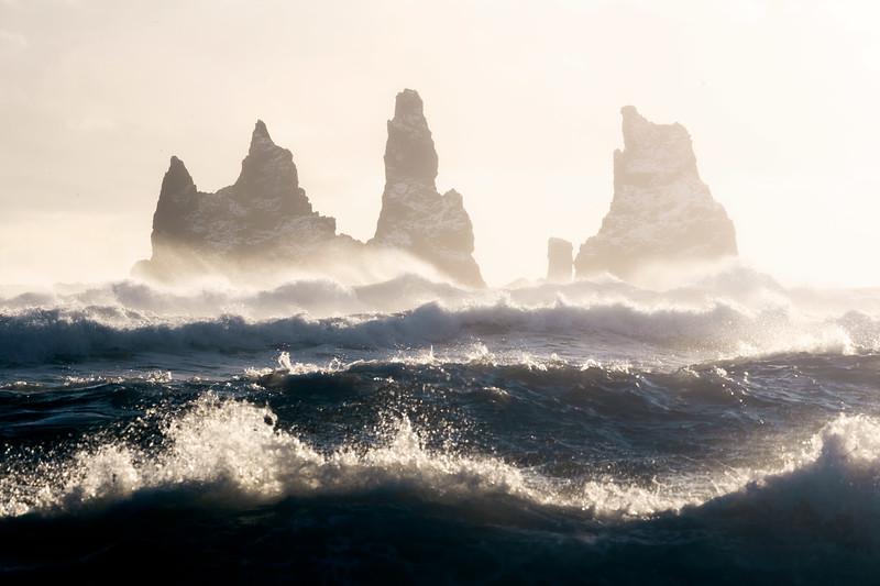 Reynisdrangar sea stacks sunset vik black beach iceland landscape photography.jpg