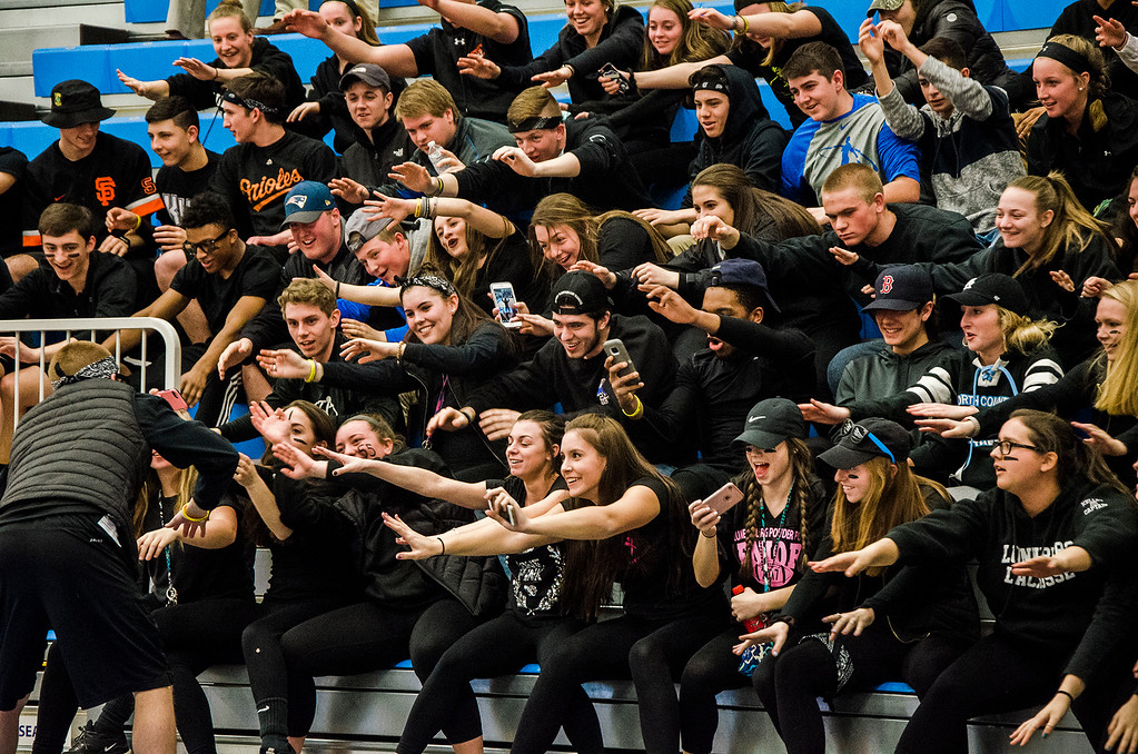 . Lunenburg fans cheer on the team during the Central Mass. D3 semifinal game against Sutton at Worcester State University on Thursday, March 9, 2017. SENTINEL & ENTERPRISE / Ashley Green