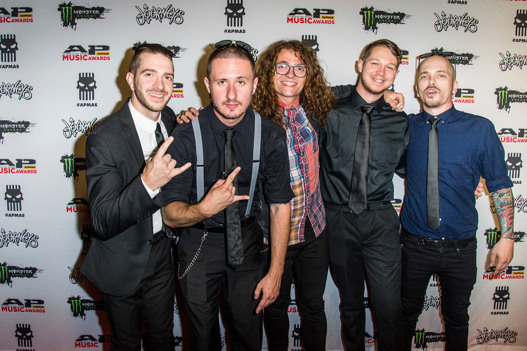 . Jerod Boyd, from left, B.J. Stead, Levi Benton, Justin Aufdemkampe and Ryan Neff of Miss May I seen at 2017 Alternative Press Music Awards at the KeyBank State Theatre on Monday, July 17, 2017, in Cleveland. (Photo by Amy Harris/Invision/AP)