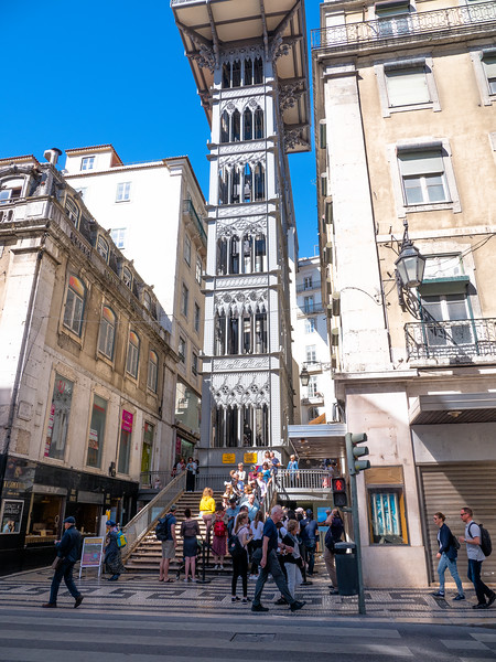 The city is so hilly that they have elevators to get you up and down the hills.  Situated at the end of Rua de Santa Justa, it connects the lower streets of the Baixa with the higher Largo do Carmo.