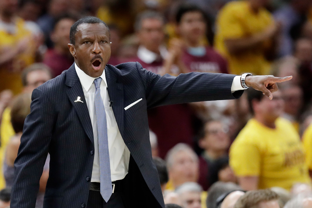 . Toronto Raptors head coach Dwane Casey points against the Cleveland Cavaliers in the first half of Game 4 of an NBA basketball second-round playoff series, Monday, May 7, 2018, in Cleveland. (AP Photo/Tony Dejak)