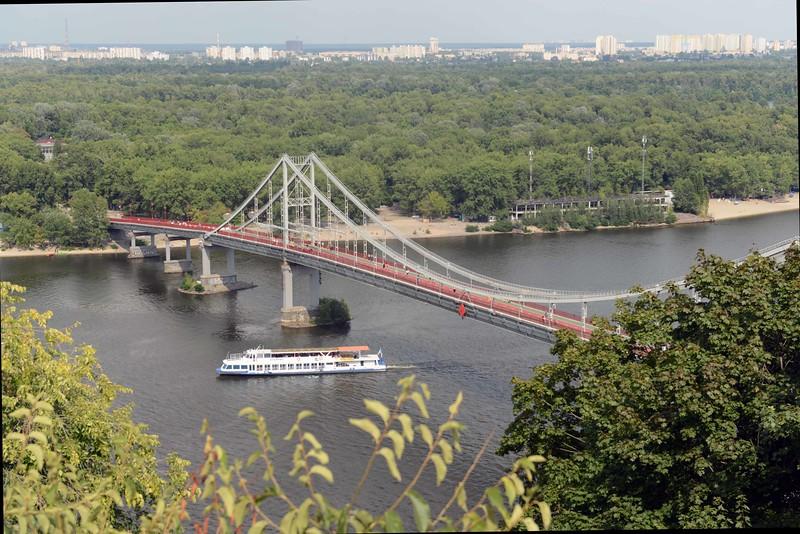 Pedestrian bridge across the Dnieper River, Kyiv, Ukraine.