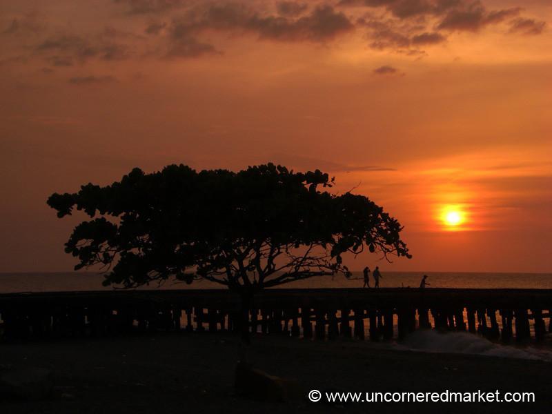 Sunset at La Ceiba Boardwalk - Honduras