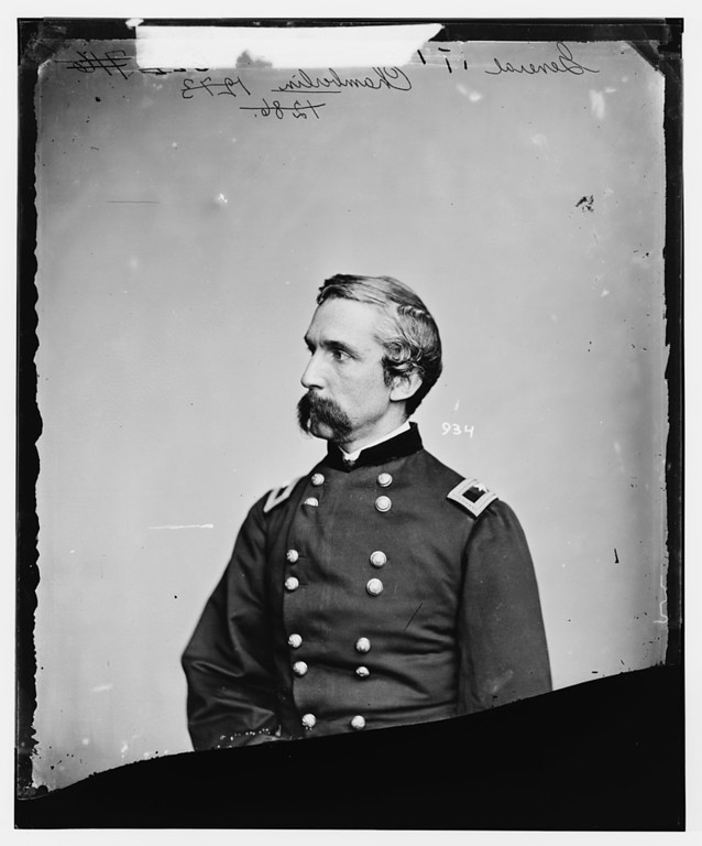 . General Joshua L. Chamberlain (between 1860 and 1865). Active at Little Round Top, Battle of Gettysburg.  - Library of Congress Prints and Photographs Division Washington, D.C.