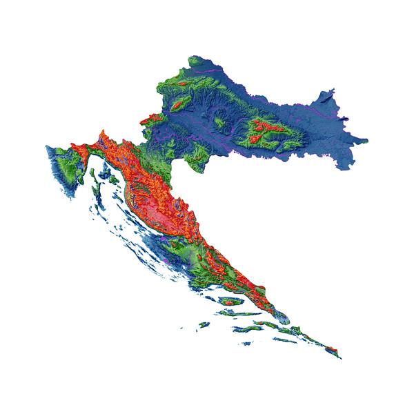 Elevation map of Croatia