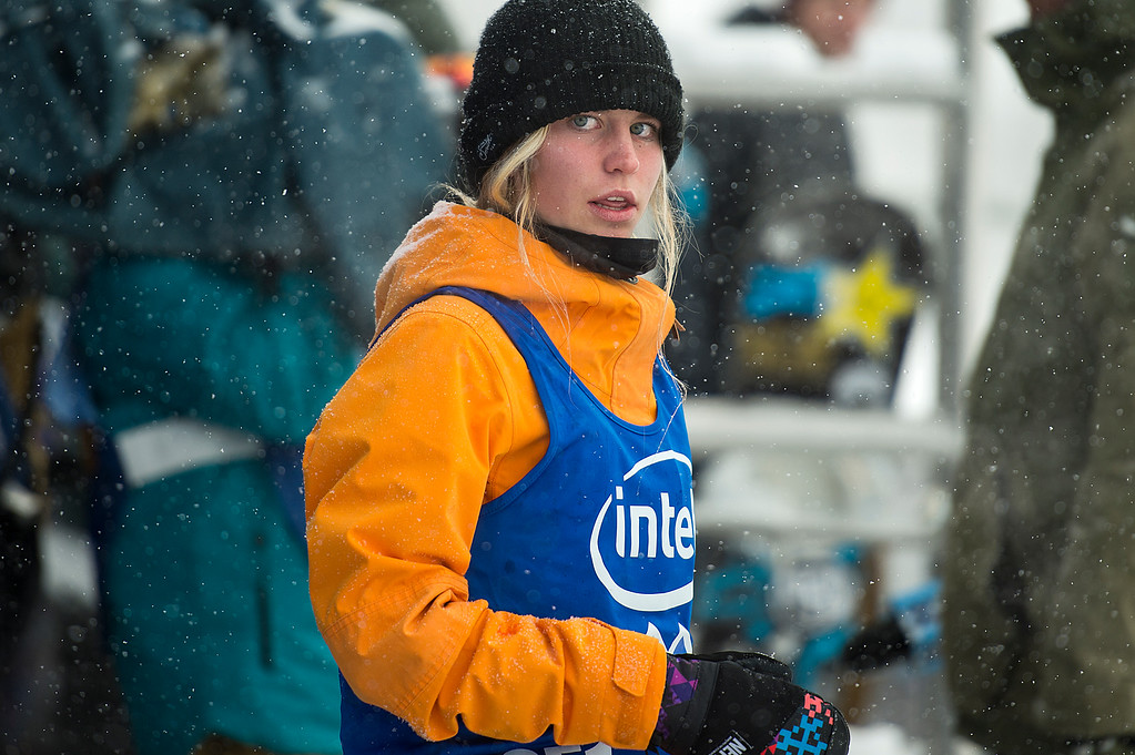 . ASPEN, CO - JANUARY 31: Maddie Mastro #851 of the United States looks on before dropping in for her first run during the women\'s snowboard halfpipe at Winter X Games 2016 Aspen at Buttermilk Mountain on January 31, 2016, in Aspen, Colorado. Mastro finished seventh overall. (Photo by Daniel Petty/The Denver Post)