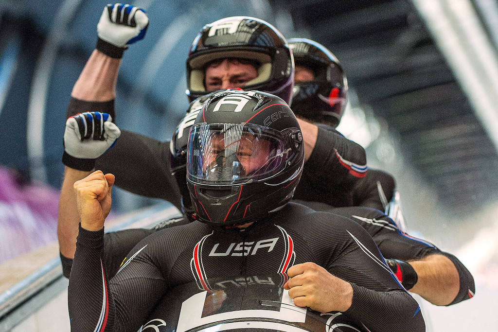 . Night Train 2, piloted by Steven Holcomb and pushed by Chris Fogt, Curtis Tomasevicz, Steve Langton, celebrate at the finish of the four-man bobsled at Sanki Sliding Center during the 2014 Sochi Olympics Sunday February 23, 2014. The team won the bronze medal with a cumulative time of 3:40.99.  (Photo by Chris Detrick/The Salt Lake Tribune)