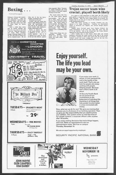 Daily Trojan, Vol. 62, No. 39, November 17, 1970