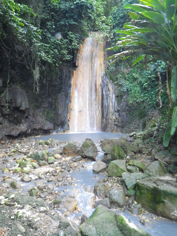 . Janet Podolak/JPodolak@News-Herald.com<p> One of several walk-to waterfalls on St. Lucia, Diamond Falls draws its water from the volcano a few miles away. Its colors vary with the dominating minerals in the water.