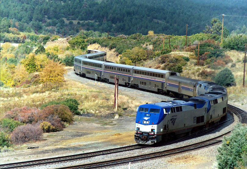 AMTRAK'S, SOUTHWEST CHIEF, climb the tortoruous Raton Pass in New Mexico. This is a contemporary photo of one of America's most scenic trains. 