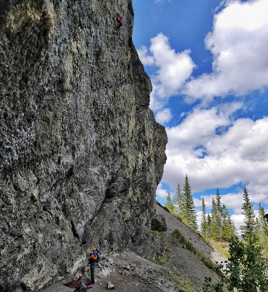 Julia Buhler belaying her brother, Manuel Buhler, Grassi Lakes, Canmore, Alberta