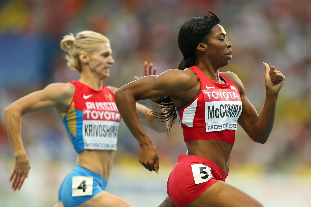 . Francena McCorory of the United States competes in the Women\'s 400 metres semi final during Day Two of the 14th IAAF World Athletics Championships Moscow 2013 at Luzhniki Stadium on August 11, 2013 in Moscow, Russia.  (Photo by Mark Kolbe/Getty Images)