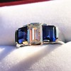 2.83ctw Vintage Emerald Diamond and Sapphire Trilogy Ring 12
