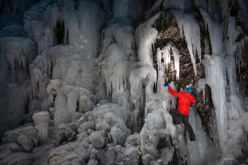Ice climbing at the Trojan Horse, a roadside ice flow near Harrison Hot Springs, British Columbia, Canada.