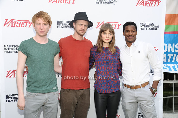 Domnhall Gleeson, Boyd Holbrook, Bella Heathcote, and Nate Parker attend the Breakthrough Performers Panel discussion at the Presbyterian Church in East Hampton. photo credit: Rob Rich/SocietyAllure.com